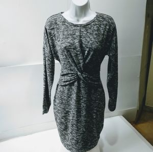 Express sweater dress s gray fit flare long sleeve